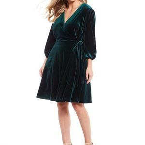 Tahari Velvet Wrap Dress Long Sleeve 22W